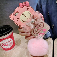 Lovely pink bear baby plush ball phone case For iPhone 6 6S 6Plus 6S Plus 7 7 PLUS  1026SSDZB
