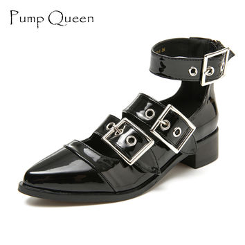Shoes Woman 2017 Spring Summer Women Boots Female Shoes Patent Leather Black Zapatos Mujer Ankle Strap Fashion Buckle Zipper