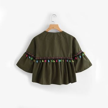 Flare Sleeve Tassel and Embroidered Tape Jacket Green Jackets Coats Women Single Breasted Collarless Jacket