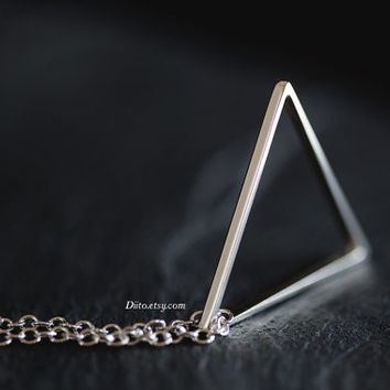 Sterling Silver Triangle Necklace, Floating Triangle, 21 inch Chain, Pyramid Necklace, Geometric Jewelry, Triangle Charm, Ready To Ship!