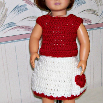 Handmade Dress, Red and White Valentine Outfit, Crochet, Doll Accessories, 18 Inch Doll Clothes, Girl Gift, Doll Hat, Doll Skirt, Doll Top