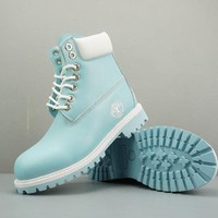Timberland Leather Lace-Up Boot High Ice Blue White - Best Deal Online