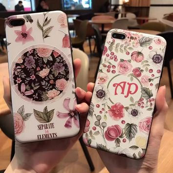 Dower Me 3D Fashion Korean Fresh Frosted Embossment Secret Garden Flower Metal Button Soft TPU Phone Case For iPhone 7 6 6S Plus