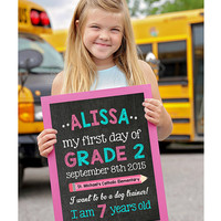 First day of school sign, Back to School, School Chalkboard sign, Back to School Poster, First day of Kindergarten chalkboard sign