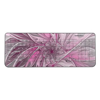 Fractal Pink Flower Dream, Floral Fantasy Pattern Wireless Keyboard