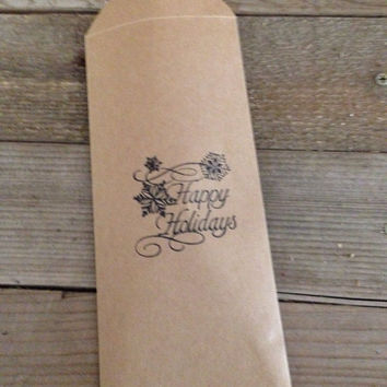 Happy holidays hand stamped favor bag