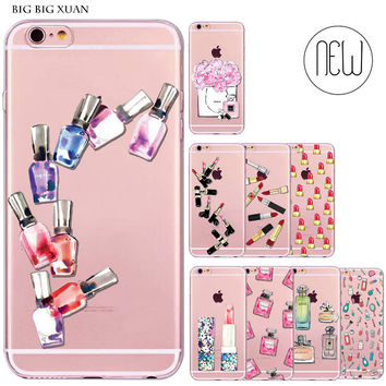 Girl Women Lipstick Perfume Bottle Phone Case For iPhone 6 6S Transparent Soft Silicone Fundas Coque  Capa Para Celular