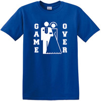 Game Over T-Shirt, funny wedding tshirt, funny groom bride shirt, wedding party tshirt, bachelor party, just married, newlywed, new couple