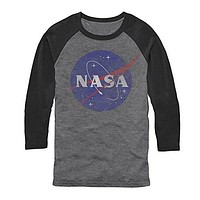 NASA Logo Mens Graphic Baseball Tee