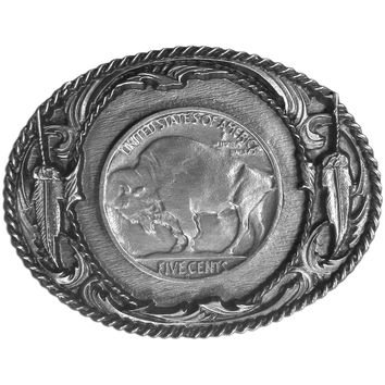 Sports Accessories - Indian Nickel with Buffalo Antiqued Belt Buckle