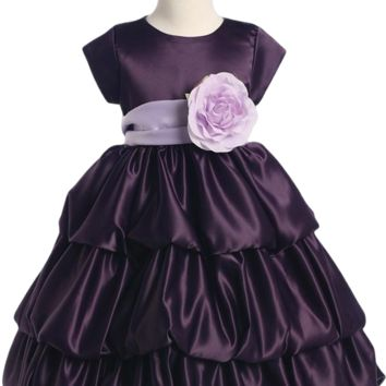 Purple Satin Flower Girls 3 Tier Bubble Tucked Hem Dress by Blossom (Girls 6 months - Size 12)