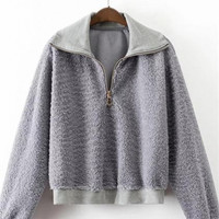 Grey Lapel Long-Sleeved Plush Sweatshirts
