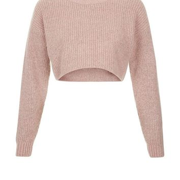 Shell Pink Cropped Jumper | New Look