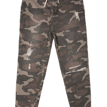 Distressed Camo Stretch Twill Jogger Pant
