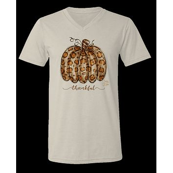 Sassy Frass Thankful Leopard Pumpkin V-Neck Canvas Girlie Bright T Shirt