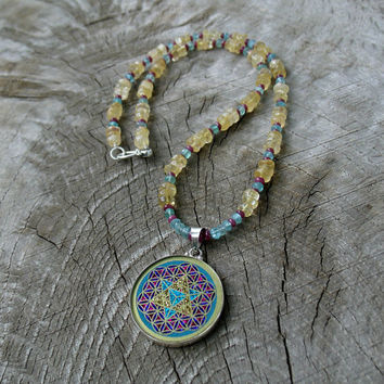 Sacred Geometry Merkaba Flower of Life Necklace Stone Beads Citrine Aqua Ruby Handmade Gemstone Kynd Vallley