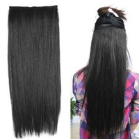 "World Pride Fashionable 23"" Straight Full Head Clip in Hair Extensions - Black"