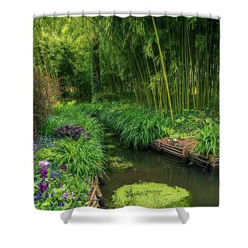 Beautiful Water Path Along Bamboo Forest Shower Curtain