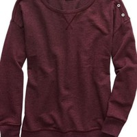 Aerie 's Cute As A Button Crew (Deep Plum)