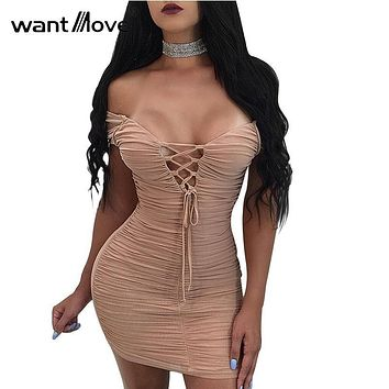 Wantmove women sexy double lined scrunch lace up dress 2018 summer club party back zipper women sheath mini dresses XD941