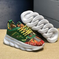 KUYOU V005 Versace Fashion Breathable Height Increasing Shoes Green Yellow Orange