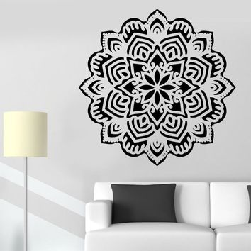 Yoga Mandala Om Vinyl Wall Stickers Indian Buddha Symbol Mehndi Wall Decal Home Decor Flower Wall Bedroom Mural Wallpaper D332
