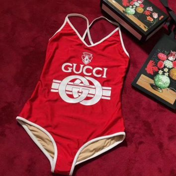 Gucci Women Front Word Print Backless Cross Trending Bikini Set Bathing Suits Summer Beach Swimsuit Swimwear Vacaton Holiday