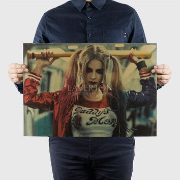 Harley Quinn/Suicide Squad F/ Hollywood actor movie /kraft paper/ Wall stickers / bar Retro Poster/decorative painting 51x35.5cm