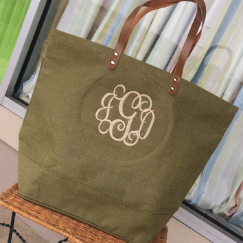 Monogrammed Olive Green Colored Jute Bag  Font shown INTERLOCKING in ivory
