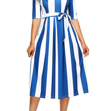 Chic Blue Stripe Print Half Sleeve Belted Midi Dress