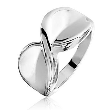 Twisted X Criss Cross Infinity Ring Polished Silver Plated Brass