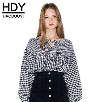 HDY Haoduoyi 2017 Apparel Sweet Plaid Casual Women Blouse Shirt Color Blcok Loose Draped Female Tops Front V Neck Basic Blouse