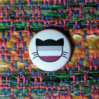 Asexual Flag Cat Pin or Magnet