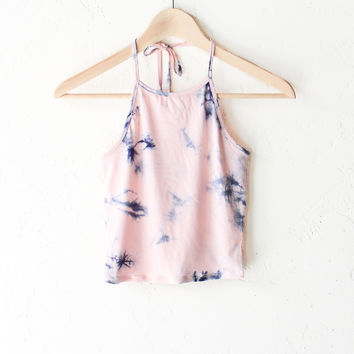 Tie Dyed Halter Crop Top - Pink