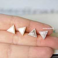 Dainty Triangle Stud Post, Stud Post Earrings, Elegant Earrings, Studs, Posts, Triangle Jewelry, Necklace,Minimal,HipsterTiny Pendant Studs