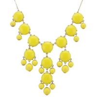 Color Bubble BIB Statement Fashion Necklace - Yellow
