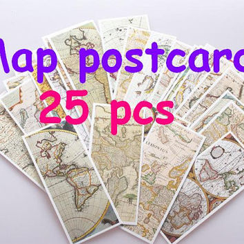 Vintage Map Postcard Retro ancient map mini poster  Antique book map card best classical post card mini map Explorers collection