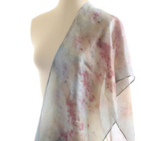 light blue silk scarf organic indigo dyed berries ecoprint pastel blue purple berry print shawl ice blue nature christmas gift for her