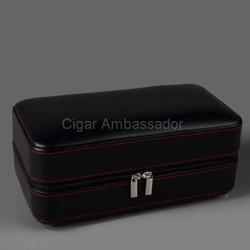 COHIBA Cool Luxury Black Leather Wrapped Cedar Wood Travelling Cigar Humidor Case with Humidifier