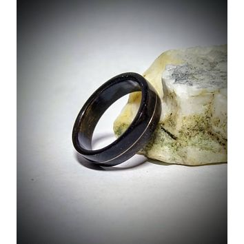 Gold 14k in Fumed Eucalyptus Wood Ring