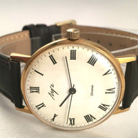 "Sleek Vintage Men's ""RAY"" (Luch) 23J wristwatch. Classic dial, round face, mechanical USSR watch. Gift for him"