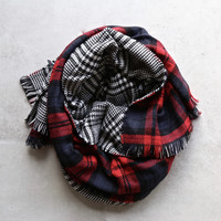 plaid + houndstooth scarf - red
