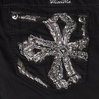 Tween Miss Me Black Jazzy Featherette Cross Skinny Jeans