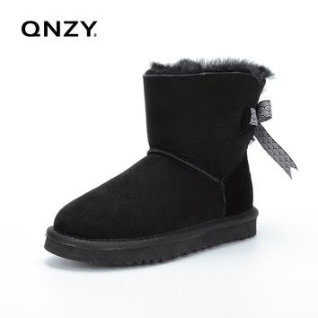 QNZY Australia 100%natural sheep fur snow boots women short boots/winter warm flat bottomed large boots/lace-up/free shipping