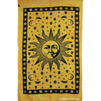 Yellow Twin Size Bright Sun Moon Dorm Room Hippie Tie Dye Indian Tapestry Decor