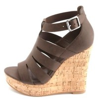Laser Cut-Out Platform Wedge Sandals by Charlotte Russe - Brown