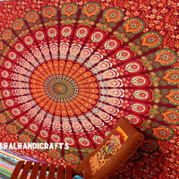 Red Peacock Mandala Tapestry,Hippie Wall Hanging,Hippie Tapestry,Bohemian Tapestry,Indian Boho Cotton Bedspread Bed Sheet