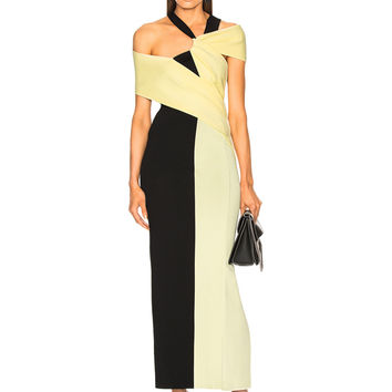Haider Ackermann Drape Knit Dress in Onyx Black & Pale Yellow | FWRD
