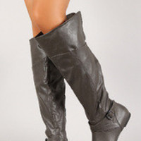 Women's Leatherette Criss Cross Buckle Knee High Boot