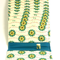 Women's Wallet Organizer with Card Slots - 2 in 1 - Yellow with Blue Flowers